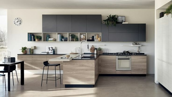 cuisine ouverte sur salon et salle à manger de design moderne