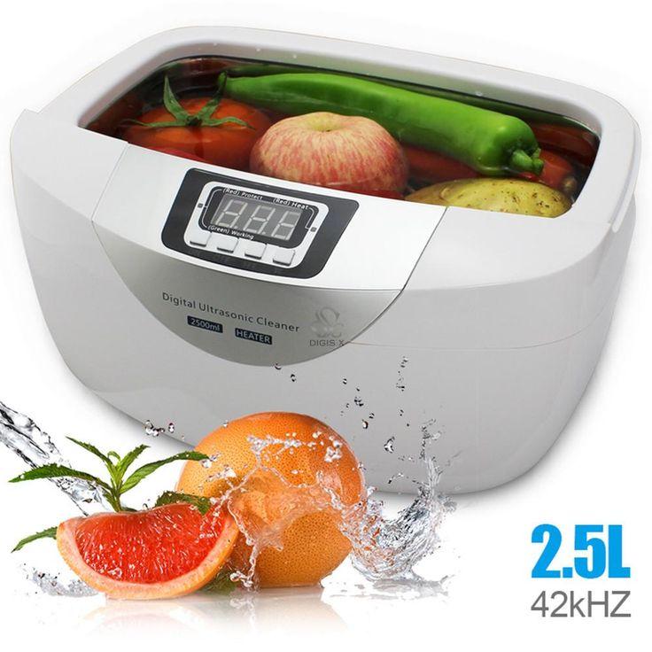 Free shipping DHL 2.5L digital household ultrasonic cleaner machine for fruits jewelry dental glasses sonic bath JP-4820