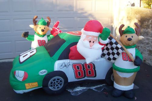 Christmas Inflatable Santa In Race Car 88 Airblown Lighted Yard Decoration 8