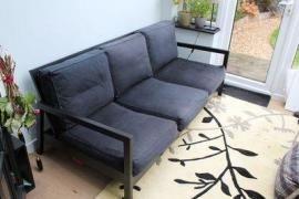 Black 3-Seater Ikea Lillberg sofa, with black mach