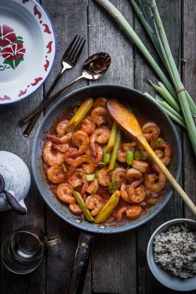 Shrimp is cooked in aromatic sambal sauce with distinct lemongrass flavor. Stink beans are usually added to this dish but you can definitely make this dish without them. JUMP TO RECIPE Shrimp with Lemongrass / sambal udang serai is one of my favorite recipes from mom. I love it so much.   #lemongrass #Sambal #serai #Shrimp #udang