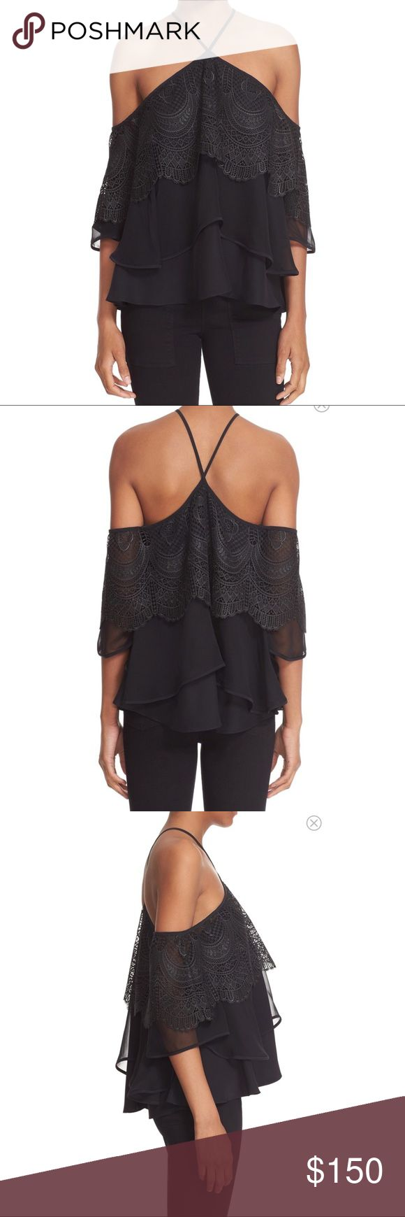 Blk Cinq A Sept Fleur Lace Silk Cold-Shoulder Top NEW $385 Black Cinq A Sept Fleur Tiered Lace Trim Silk Cold-Shoulder Top    Intricately wrought scalloped lace furthers the romantic feel of a floaty silk-chiffon blouse that drapes off the shoulders to bare some skin. Sharing its name with the French term meaning five to seven, new label Cinq à Sept offers feminine pieces that look chic from late afternoon to early evening—and beyond.   Slips on over head Halter Neckline Flutter sleeves 100%…