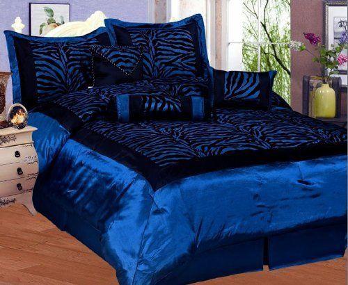 Blue Black Zebra Faux Silk Flock Printing Comforter Set
