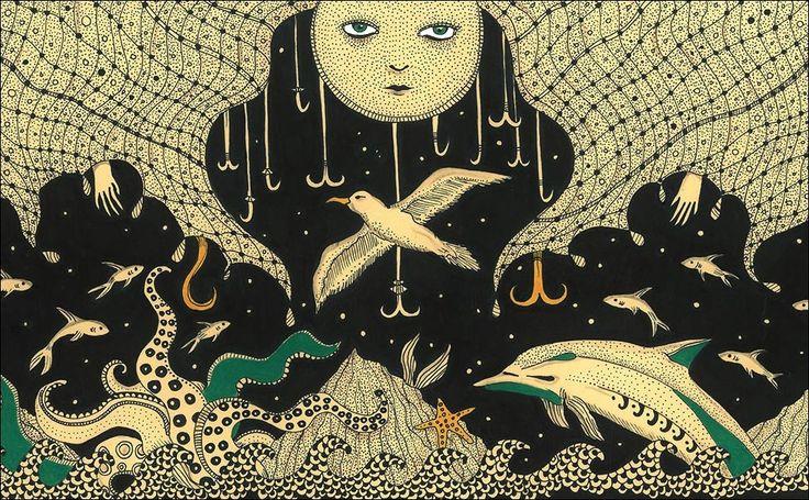"""Troppo prezioso, il mare, per trattarlo male. Troppo preziosa la biodiversità che vive in esso e attorno ad esso per non dedicare tutti gli sforzi necessari al più grande """"habitat"""" del mondo, a questo incredibile scrigno di biodiversità, al cuore stesso del nostro splendido Pianeta blu. Daria Hlazatova lo ha disegnato così.  http://www.lipu.it/un-tesoro-nel-mare"""
