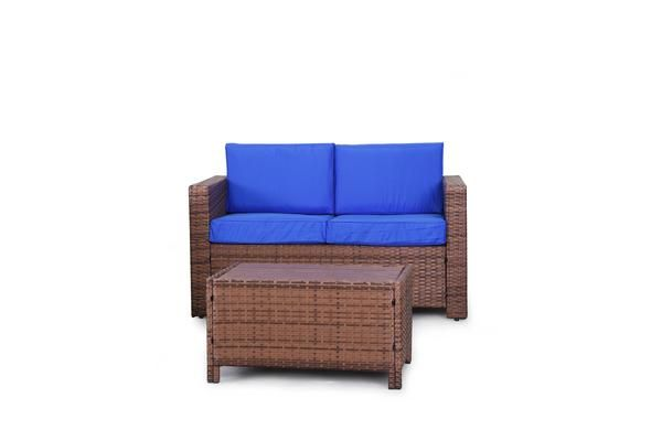 Eden Rock Collection - Designer Outdoor Garden Patio 2-Piece Waterproof Cushion Rattan Wicker Loveseat Chair and Coffee Table Furniture Set.