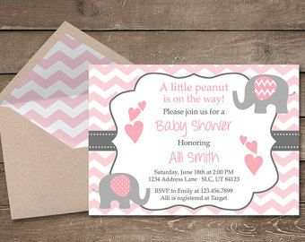 Pink Elephant Baby Girl Shower Printable by adlyowlinvitations