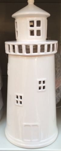 Seaside nautical #vintage #style #cream gloss ceramic lighthouse table lamp new,  View more on the LINK: http://www.zeppy.io/product/gb/2/222145404167/