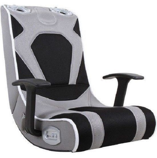 Video Rocker Gaming Chair, Grey With Speaker System Without Sub Woofer Is  Perfect For The Video Game Enthusiast. This Fun Video Gaming Chair Provides  ...