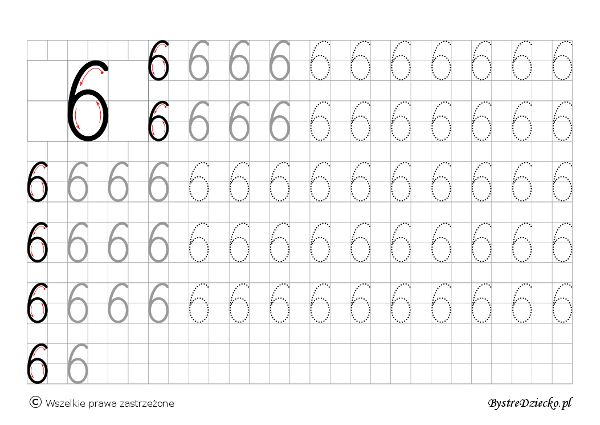 Cyferki dla dzieci - szablon do nauki pisania 6 - matematyka