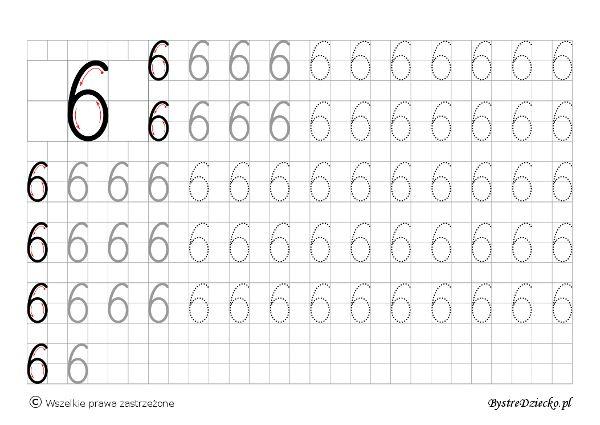 6 - nauka pisania cyferek dla dzieci, duża czcionka, Anna Kubczak
