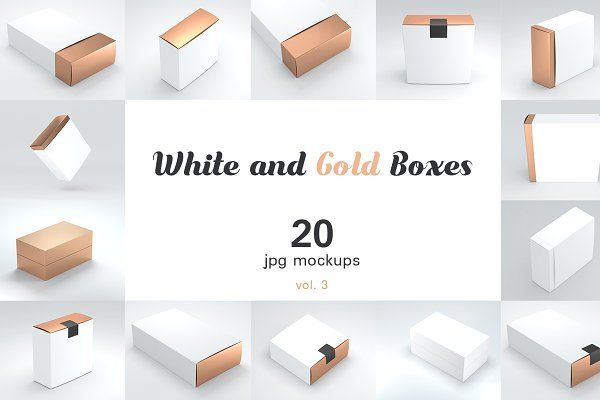 Download 20 3 White And Gold Boxes Mockups Box Mockup Mockup Branding Mockups