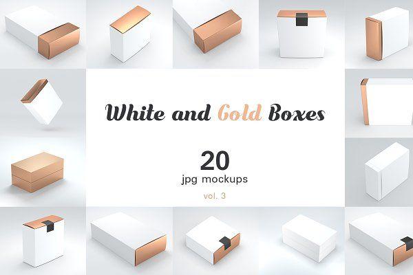 Download 20 3 White And Gold Boxes Mockups Box Mockup Mockup Branding Mockups