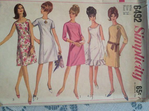 SIMPLICITY DRESS PATTERN 6492 Size 14 Bust 34 1966 by MarysVision