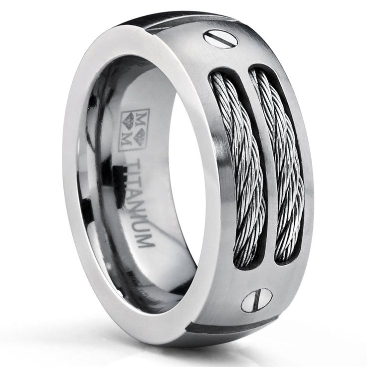 jd hpolw 9mm mens stainless ring wedding band with stainless steel cables and screw design - Cheap Mens Wedding Rings