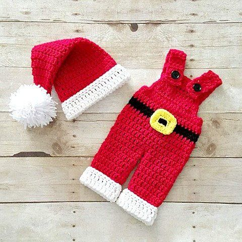 Crochet Baby Santa Claus Hat Beanie Infant Newborn Handmade Baby Shower Gift Winter Accessory Clothing Photography Photo Prop - Red Lollipop Boutique