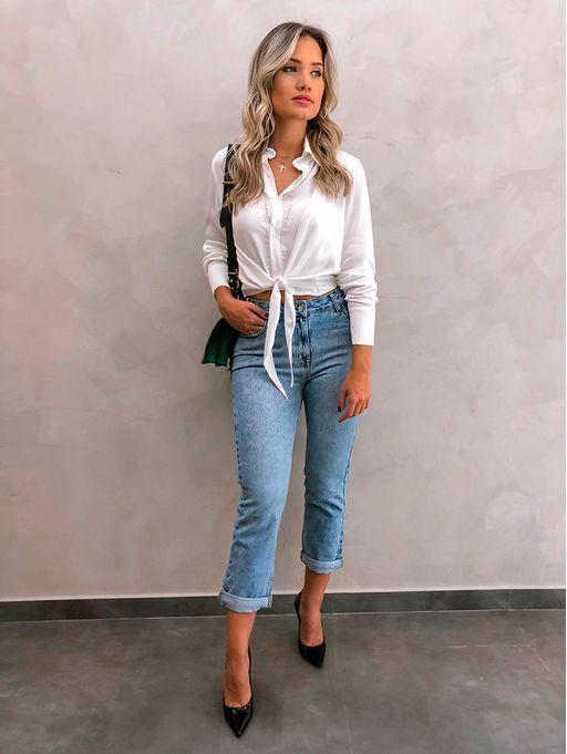 927e3ff85 Camisa Amarracao Lara Off | outfits em 2019 | Fashion, Casual jeans ...