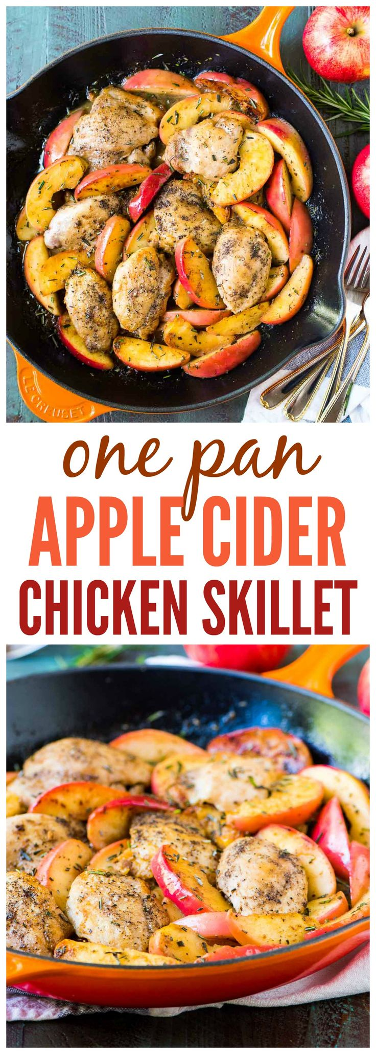 Apple Cider Chicken Skillet. ONE PAN is all you need to make this easy, elegant recipe. Ready in 30 minutes! @wellplated {gluten free, paleo, whole 30}
