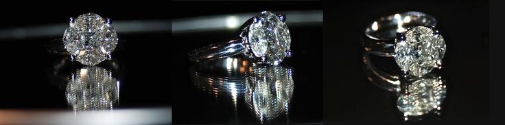 Sortija con truco, se han utilizado 5 diamantes (4 marquis y 1 princesa) para conseguir el efecto de un diamante de 4 Q .    Ring tricky, we used 5 diamonds (4 marquis and 1 princess) to get the effect of a 4 Q Diamond.