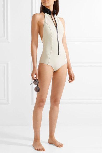 Lisa Marie Fernandez - Lisa Marie Bonded Halterneck Swimsuit - Cream