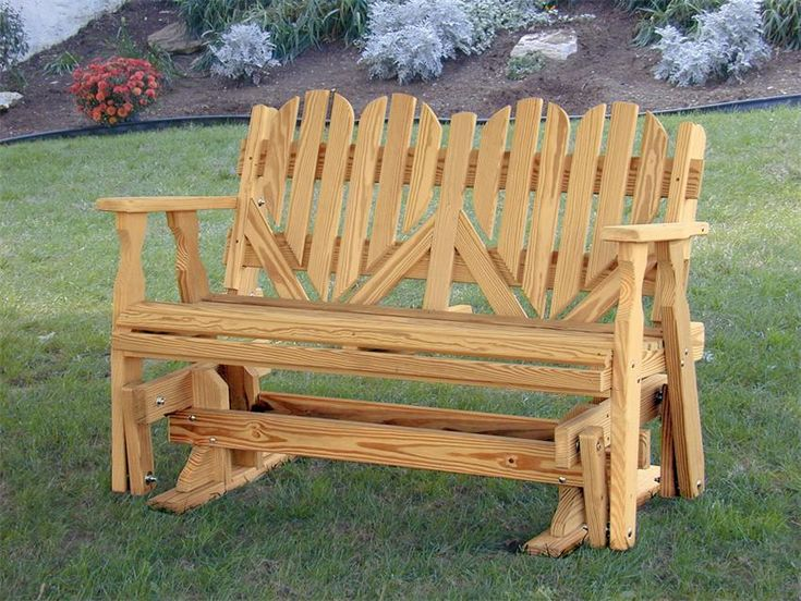 Amish Outdoor Pine Wood Heart Porch Glider Bench Made in the USA #MadeinUSA #MadeinAmerica via ...