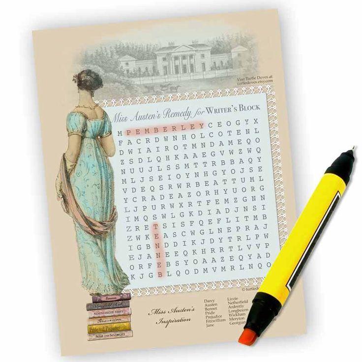 Download Jane Austen Party Game Wordsearch Puzzle Jane Etsy Jane Austen Book Club Parties Wedding Shower Themes