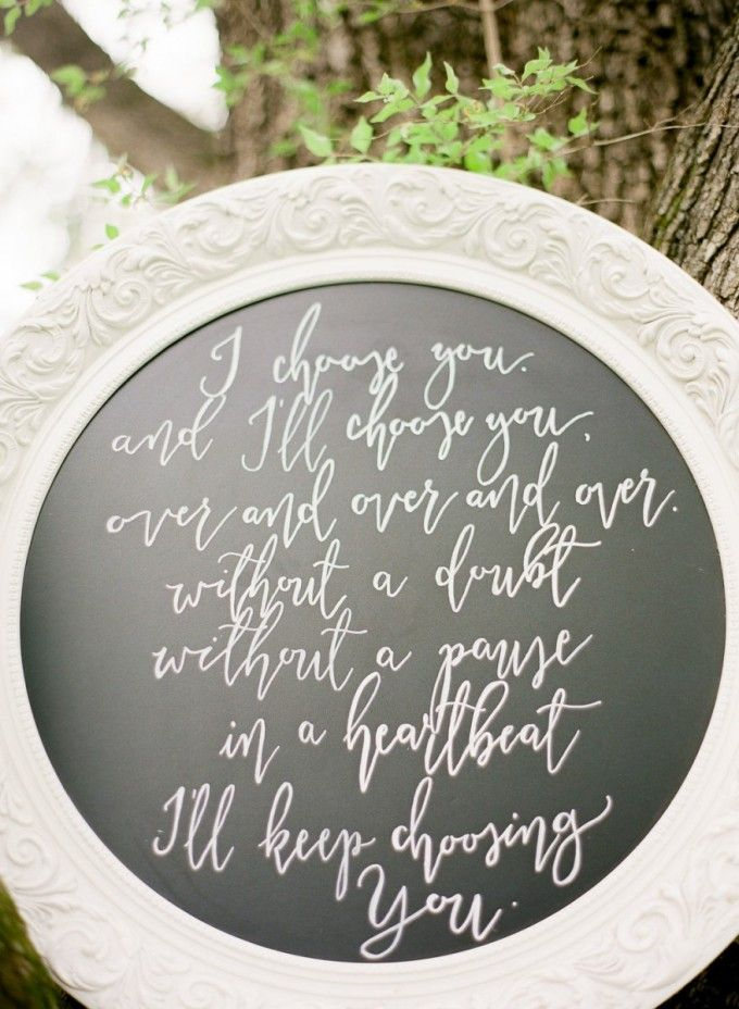 The most romantic hand lettered sign at ceremony #cedarwoodweddings Cedarwood Spring Style on Style Me Pretty with Julie Paisley | Cedarwood Weddings