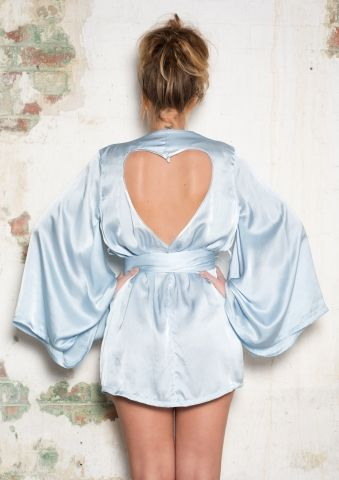 LIVIA Silver Blue silk kimono Robe with heart cut out- light blue sleepwear - $230.00 : Marry Me Charlie, Your Online Wedding House | The Marketplace Making a Difference