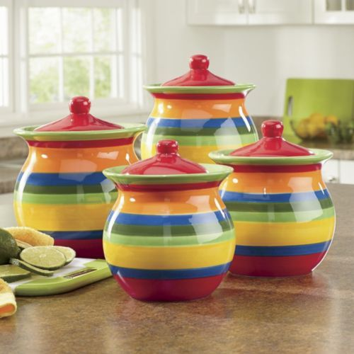 colorful kitchen canisters 4 multistripe canister set from through the country 11057