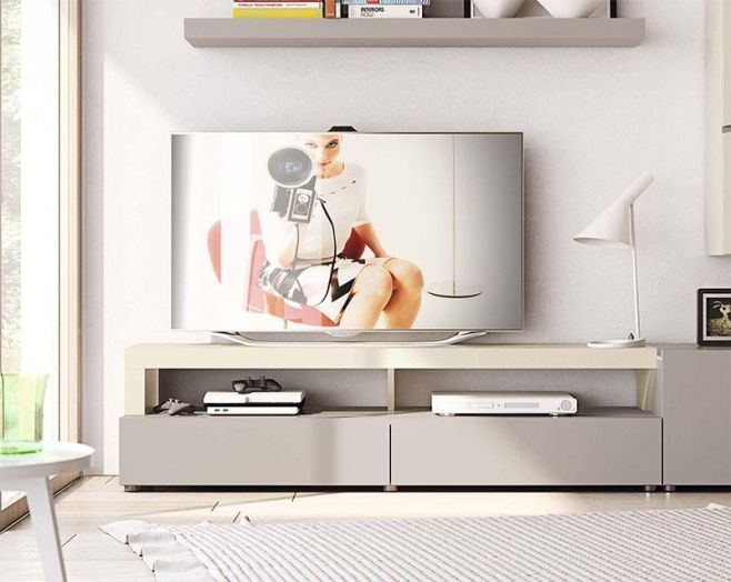 Modern 2 Drawer TV Unit with Shelf by Garcia Sabate Natural Various Finishes