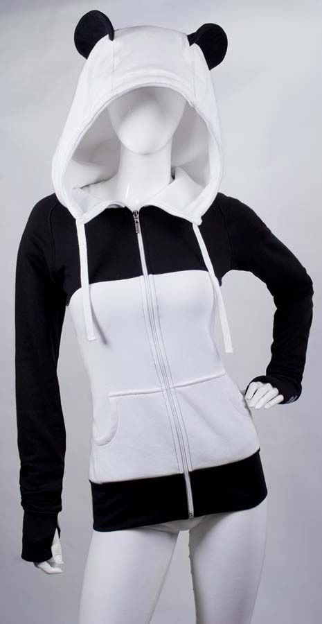 Panda Hoodie!  It even comes with a thumb hole.  I need to plan a Ski trip so I can wear this or I can wear it as a Halloween Costume.  I think its even low key enough for a work costume!