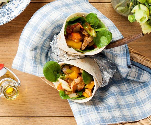 Wraps met varkenshaas en mango | Gezond eten magazine
