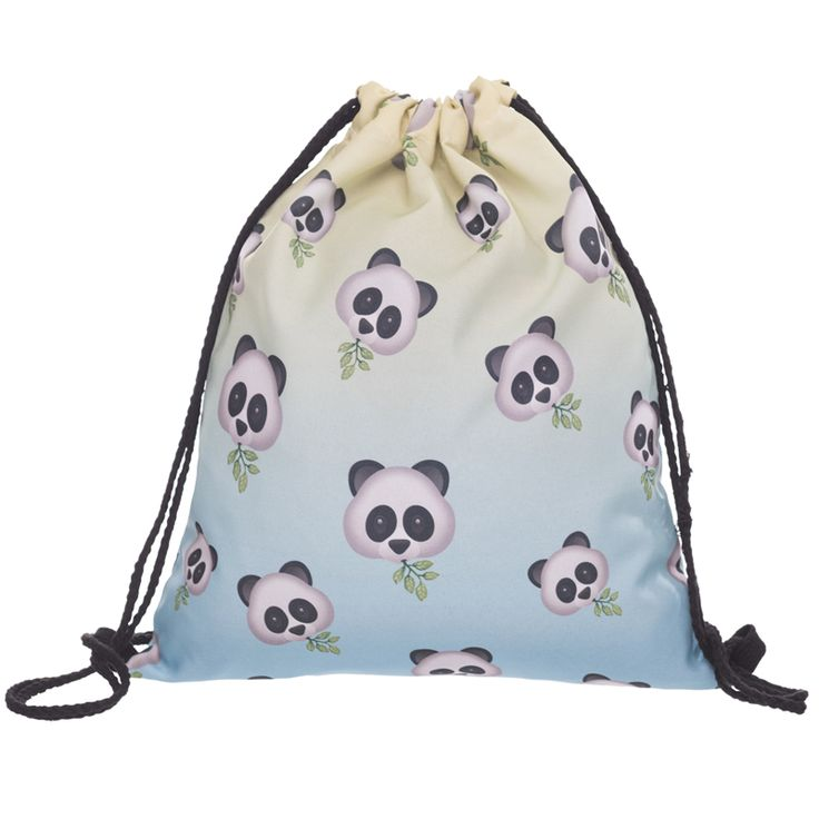 Who Cares New 3D Print Panda Emoji Backpack Women Drawstring Bag Mochila Feminina daily Shopping Casual Girl