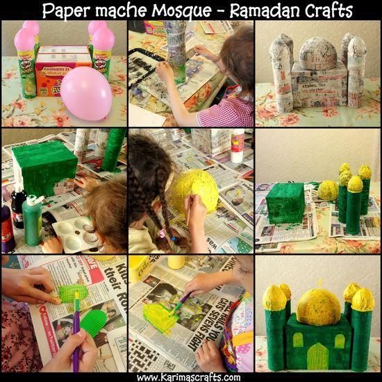 paper mache Mosque  30 days of Ramadan Crafts Tutorial Islamic Muslim Karimas | http://craftsandcreationsideas.blogspot.com