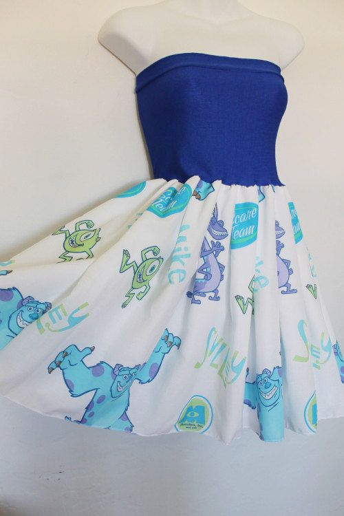 MONSTERS INC Baby Doll Disney Dress Bow Teal Purple by lynnsrags, $55.00