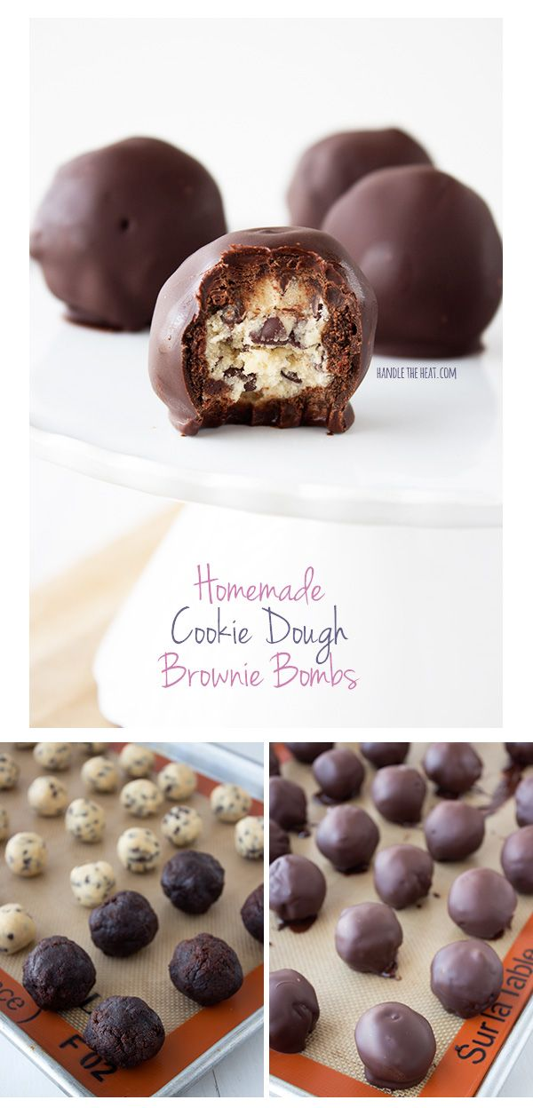 Homemade Cookie Dough Brownie Bombs feature egg-free cookie dough balls covered in fudgy homemade brownie and dipped in chocolate. Outrageous!