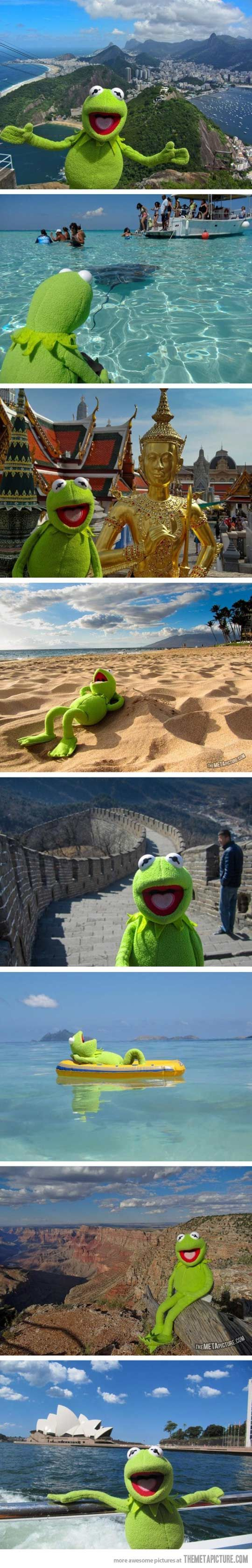 Kermit the Frog's vacation around the world…  I want to do this with my kids one day on every vacation