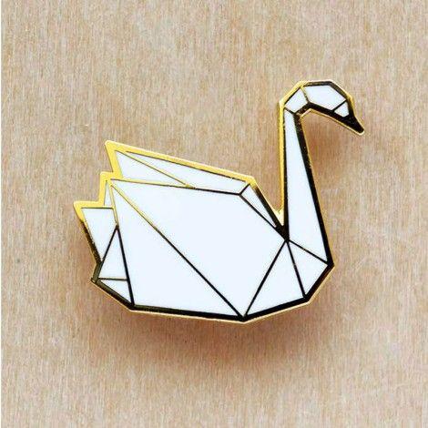 broche cygne origami by Hug a porcupine
