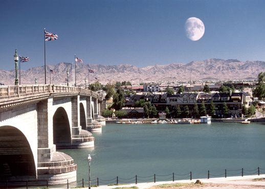 Lake Havasu, AZ. My roommate lives here! The bridge is beautiful, and the lake is so peaceful.