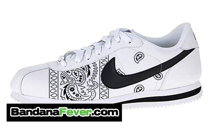 "Nike ""OG Black Bandana"" Cortez Leather White/Black Sides by Bandana Fever"