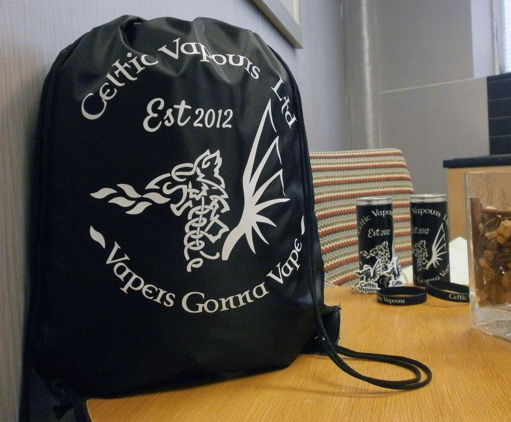 Some great Drawstring bags for our friends at Celtic Vapours Ltd. Great way to carry your Liquids and E-cigs around... https://www.promoparrot.com/eynsford-drawstring-bag.html #promo #vaping #drawstringbags #bags