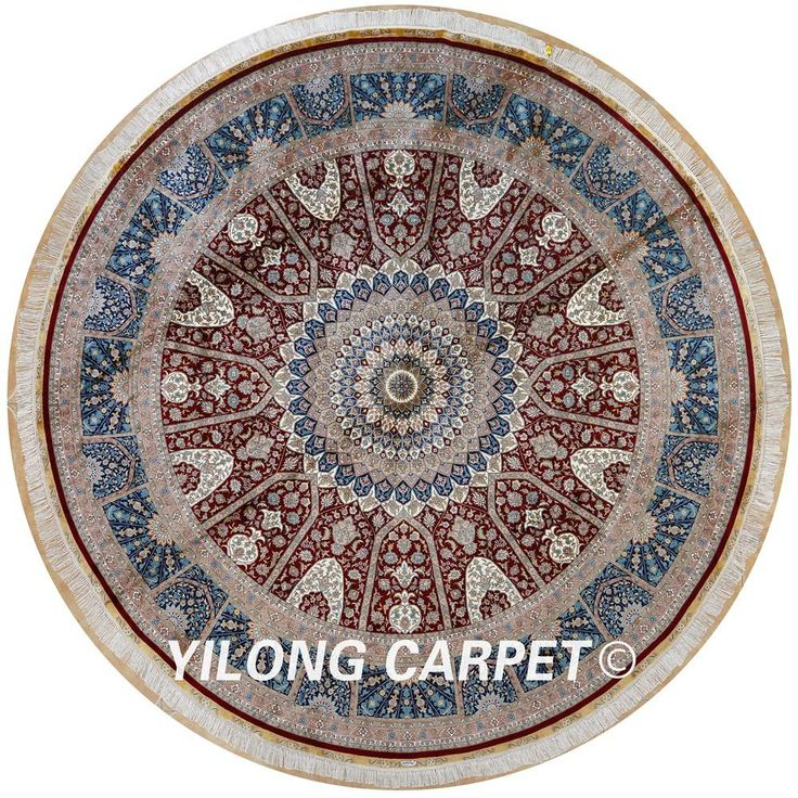 Yilong 10'x10' Turkish silk carpet red med…