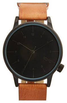 KOMONO 'Winston' Round Dial Leather Strap Watch, 40mm available at #Nordstrom…