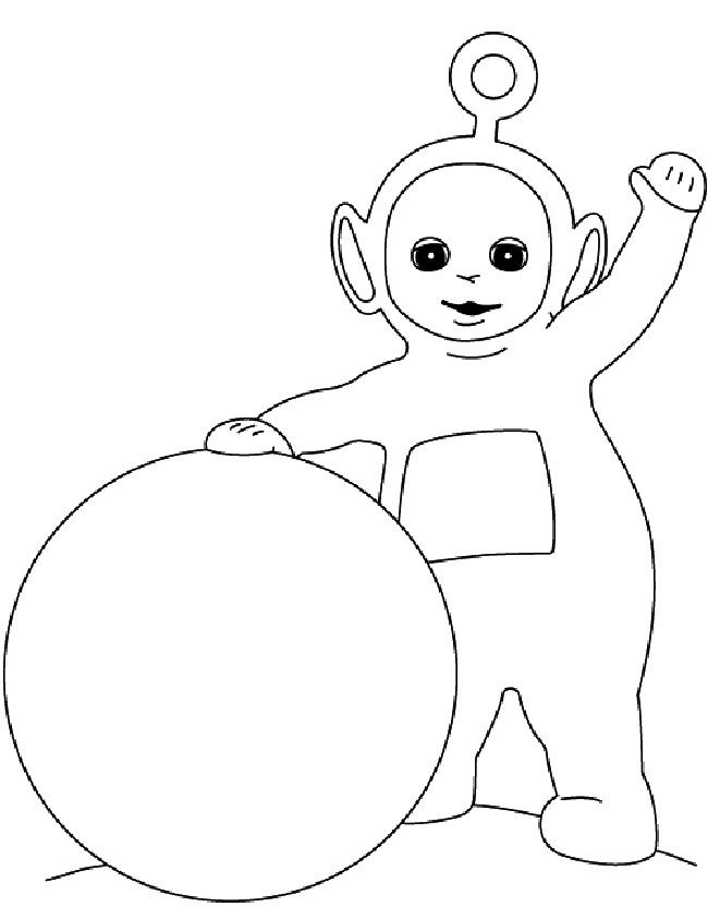 Teletubbies Poo Playing Ballons Coloring For Kids
