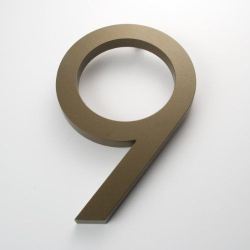 "Modern House Number Bronze Color Aluminum Modern Font Number Nine ""9"" 6 inch by Moderndwellnumbers.com. $38.99. Modern House Numbers; Modern font; 3/8"" Architectural Grade Recycled Aluminum; Size 6"" Tall; Bronze powder coating to with stand extreme conditions. High quality modern house numbers. Numbers are made from recycled 3/8"" thick architectural grade recycled aluminum. aAvailable sizes 4"" 6"" 8"" 12"" 15"" tall, with 1/2"" standoffs and installation template. Each number has a B..."