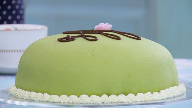 Make this prinsesstarta recipe, which is a Swedish recipe also know as Princess Cake that was featured on The Great British Baking Show airing on PBS.