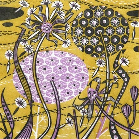 Angie Lewin is a printmaker who produces multi coloured prints using wood engraving, linocut, silkscreen, lithograph and collage  printmaking techniques. Lewin is inspired by cliff tops and saltmarshes of the North Norfolk coast and the Scottish Highlands.