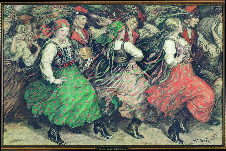 Polish Dance, Krakowiak - by Wladyslaw T. Benda (b. 1873); pastel and colored crayon on cardboard; donated by the artist.