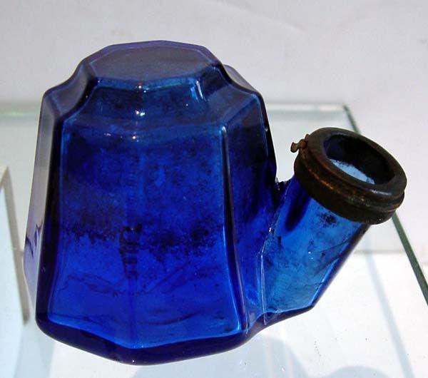 Cobalt blue glass tea kettle ink bottle
