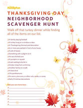 Thanksgiving Neighborhood Scavenger Hunt