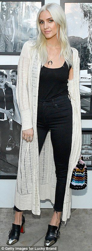 Ashlee Simpson debuts platinum blonde hair at denim event #dailymail